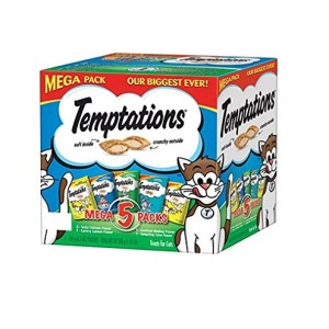 Whiskas Temptations Mega Pack Cat Treats, Assorted Flavors, 6.3 oz (Pack of 5)
